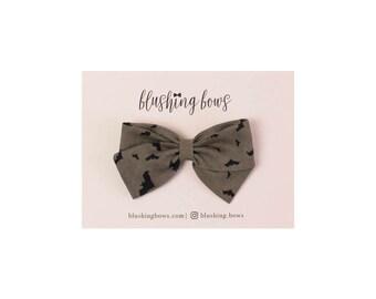 Bat Bow, Halloween Bow,  Hand Tied Fabric Bows, Baby Girl, Toddler, Girls Fabric Bow Headband or Hair Clip