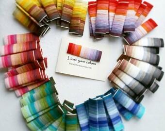 Linen yarn - Sample card - 66 Linen  Yarn colors - Linen Crochet thread, Yarn for crochet, Knitting Yarn, Pure linen Yarn