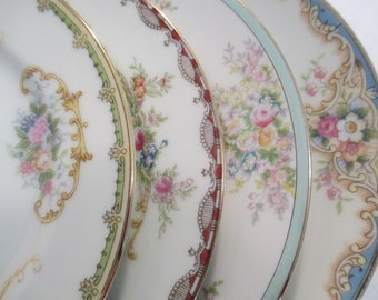 Vintage Mismatched China Dessert Plates, Bread Plates for Tea Party, Bridal Luncheon, Cake Plates, Tea Plates, Bridesmaid Gift-Set of 4