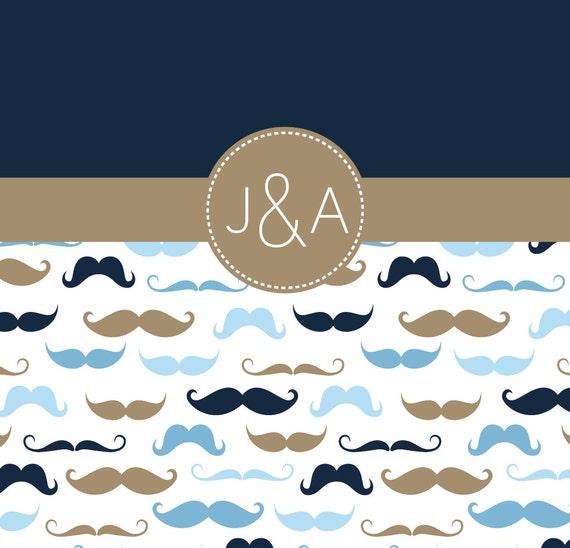 Mustache Shower Curtain-Shared Bathroom-Navy-Light Blue-Dusk