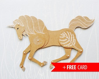 Articulated paper doll Unicorn paper puppet magic horse doll handmade greeting card magical birthday gift girlfriend gift marionette animal
