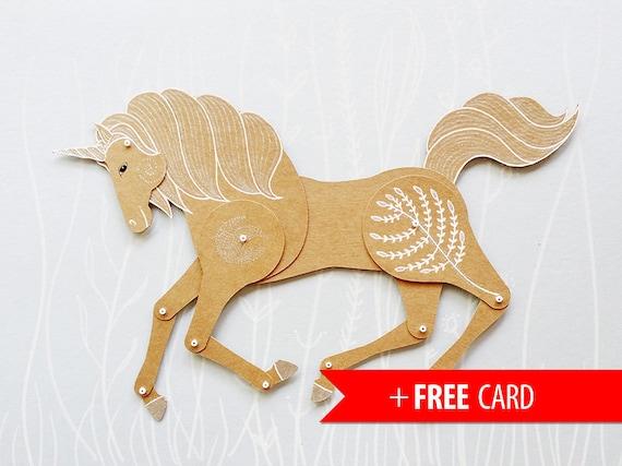 articles similaires poup e de papier articul licorne papier marionnette cheval magique poup e. Black Bedroom Furniture Sets. Home Design Ideas