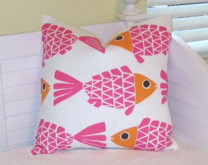 Go Fish Pink and Orange Fish Design Indoor Outdoor Pillow Cover