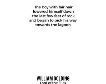 Lord of the Flies Opening Lines Poster, William Golding Poster, Book Poster, Literature Poster, Digital Version