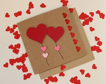 3D Celebration Card, Wedding Card, Civil Ceremony Card, Red Heart Card with Free Confetti and Free UK Postage MC15206