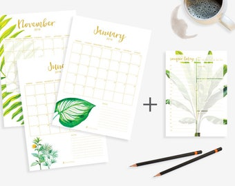 Printable Planner Bundle - Monthly + Daily Planner - 2018 - Water Coloured Tropical Leaves - A4 + A5