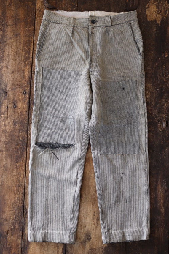 "Vintage 1940s 40s french grey pique corduroy cotton work chore hunting trousers pants 32"" x 28"" workwear repair project darned button fly"