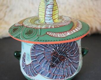 Snake ceramic jar, cobra jar, cookie jar, treat jar, handbuilt pottery