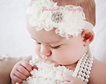 Baby Girl White Headband..Rhinestones..White Christening Headband..White Baptism Headband..Baby Girl White Flower Headband
