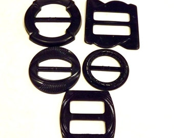 Belt Buckles black Set of 5 belt buckles Vintage
