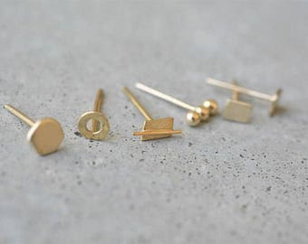 Mix and match earrings, Solid gold stud earrings, yellow gold stud earrings, minimalist, 14k gold stud earrings, 14k tiny gold stud earrings