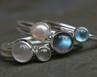 Moonlight on Water Stacking Rings Labradorite Swiss Blue Topaz Pearl Moonstone Set of Five 5 Rings Cabochon Moon Stackable Silver Stack Ring