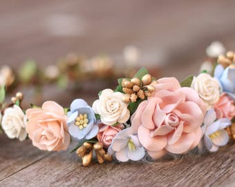Dusty Blue Rose Peach White and Gold Flower Crown -  Bridal Hair Crown -  Greenery Hair Wreath - Wedding Flower Hair Wreath - Maternity Boho