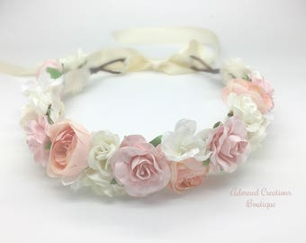 Pink, Ivory, Blush pink and white Flower Crown, Newborn Crown, Flower girl Flower Crown, Maternity flower crown
