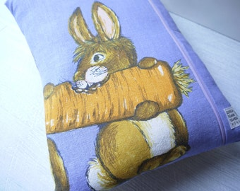 Vintage Tea Towel Cushion Cover - Bunny Buddies