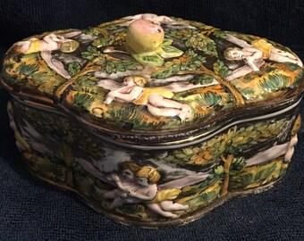 Capodimonte Style Lidded Cherub Candy Dish/Lidded Bowl