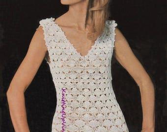 Womens Crochet Pattern Vintage Summer Dress pdf