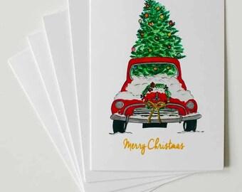 Holiday Car,Holiday Greeting Cards,Greeting cards,Christmas cards, Greeting cards set, fashion greeting cards, Handmade greeting cards