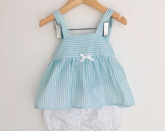 Blooming white summer bloomer set, Sizes 6 months, 1 year, 2years, 3 years and 4 years