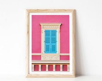 French Window Photograph, Architecture Print, Blue and Pink Art, Fine Art Photography Print, Bedroom Wall Art, Modern Rustic