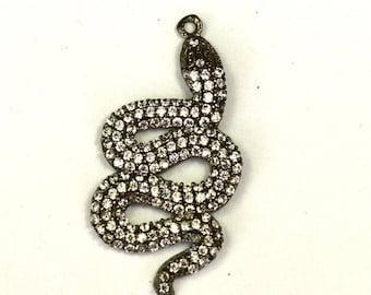 ON SALE 1 Piece White Topaz Snake Charm 925 Sterling Silver Pendant Charm, White Topaz Charm Pendant 33mmx17mm
