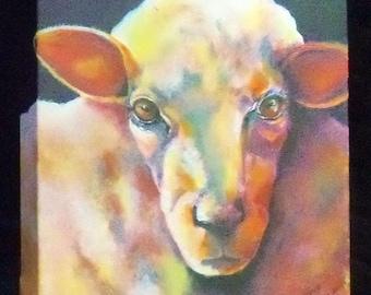 original art acrylic painting 12x12 wall decor sheep colorful