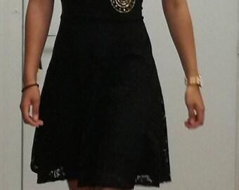 Black Lace dress with yoke in wax. Black dress with yoke wax