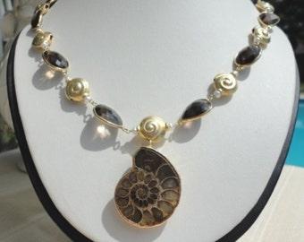 quartz gold necklace, ammonite fossil, gem necklace gold, fossil necklace, brown stone necklace, gold vermeil necklace, unique for women