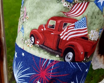 Patriotic Plastic Shopping Bag Holder, Old Truck Dispenser, Stars and Stripes Bag, American Flag Bag Holder, Grocery Bag Holder