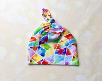 Baby Girl Infant Newborn to Three Months Knot Hat Rainbow Watercolour Mosaic