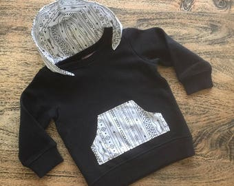 Heaven Sent boy hoodie black jumper pocket white arrow aztec monochrome winter clothes