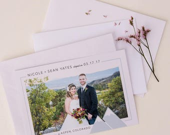 modern mountain theme elopement announcement with photo
