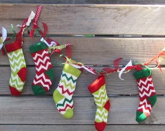 6' Christmas Garland Christmas Stocking Garland Knit Sock Garland Christmas Decor Red Green Garland Chevron Stocking Garland Holiday Garland