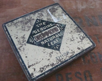 Antique Rusty Embossed Hinged Tin