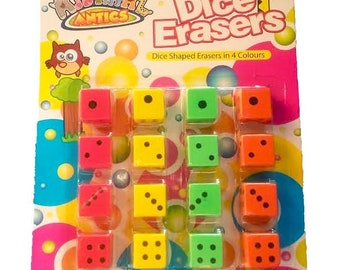 16 Pack of Fun Dice Erasers Rubbers 4 Colours By Animal Antics Kids School Party Gift School Supplies Stationary Office Accessory