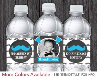 Mustache Water Bottle Labels - Printable Mustache  Birthday Party Decorations - DIY Digital File