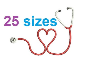 Heart Stethoscope Embroidery Design, Nurse Fill Embroidery Design Instant Download ER1031F3