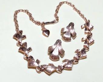 Vintage lightweight chain necklace with clip earrings, 12 to 16 inches, Germany, rose gold or copper aluminum necklace and earrings, 1960s
