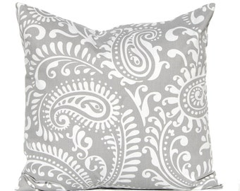 Gray Pillow Cover - Decorative Throw Pillow Cover - Gray and White Decor - Gray Cushion Cover - Large Scale Paisley - Grey Pillow Cover