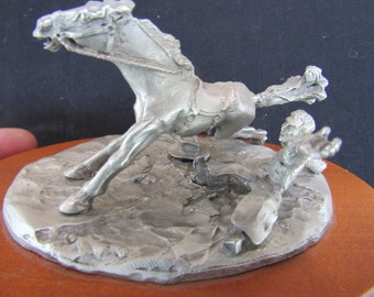 """Vintage Spoontiques Pewter Western Rodeo """"Bitin the Dust"""" Horse and Rider"""
