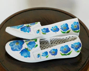 Hand-painted canvas shoes with meconopsis US size 8