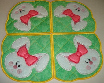 Machine Embroidery Design-In the Hoop-Doily/Candle Mat/Runner/Place mat-Applique Easter Bunny includes 2 sizes!