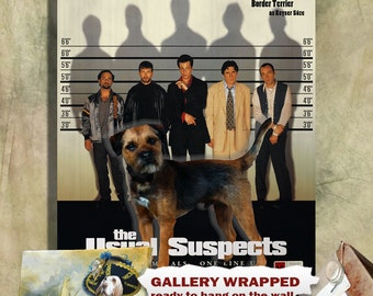 Border Terrier Vintage Poster Canvas Print - The Usual Suspects Movie Poster   Perfect DOG LOVER GIFT Gift for Her Gift for Him Home Decor