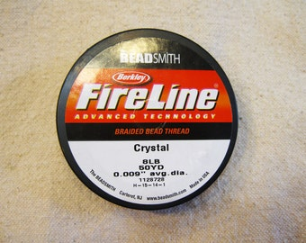 "8 lb Crystal Fireline Braided Beading Thread .009"" Avg Diameter 50 yards"