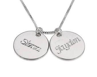925 Sterling Silver Personalized Two Circle Necklace 2 Names
