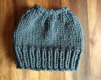 Messy bun beanie / womens adult knit hat / adult beanie / holiday knit hat / ponytail beanie / winter hat