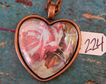 Rose Heart Necklace Key Ring Pink #121 One Of A Kind