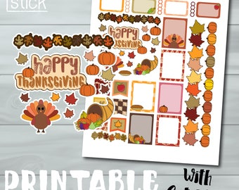 Thanksgiving Printable Planner Stickers - Perfect for Erin Condren, Happy Planner & other Planners!