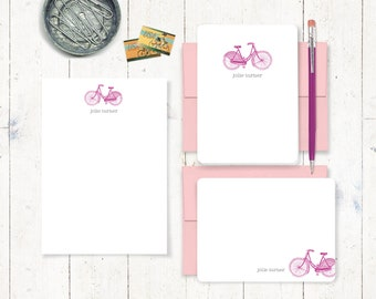 complete personalized stationery set - VINTAGE GIRLS BICYCLE - stationary set - women's bike note cards - notepad - girls bike cards