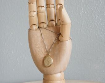 1970s Carved Initials locket floral necklace | vintage 70s locket necklace